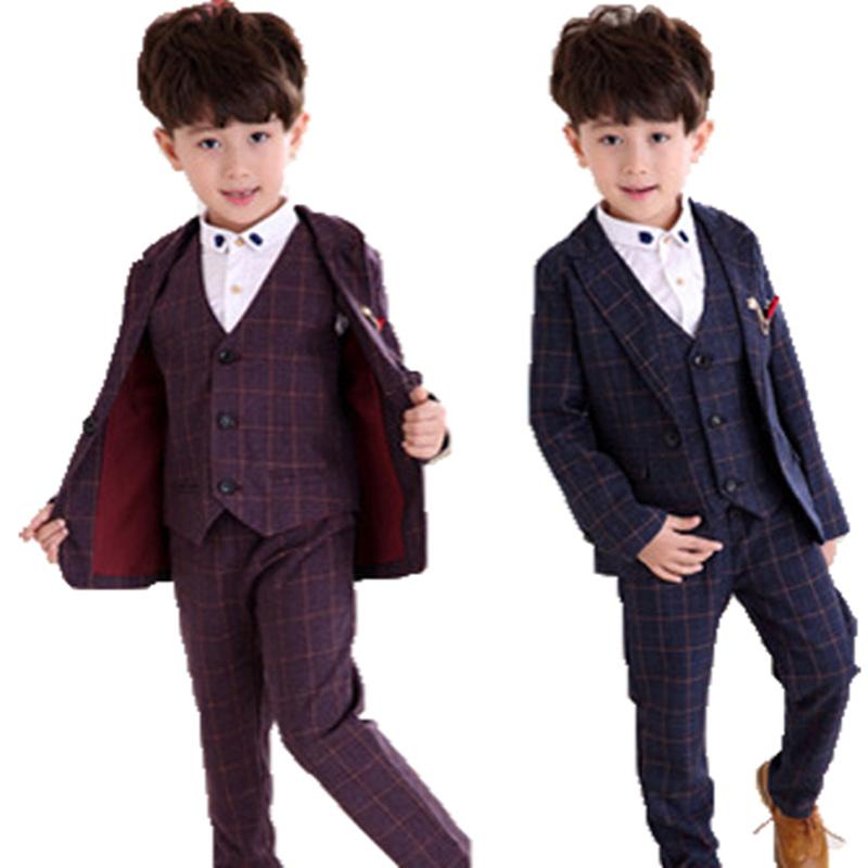 儿童西装套装男小学生秋冬款三件套男童西服主持人演出服加厚格子