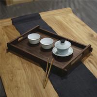 禅意托盘黑胡桃木新中式实木瓷器简约果盘茶具茶盘原创茶室干泡盘