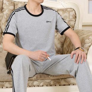 中年男士圆领卫衣休闲套装短袖长裤宽松运动服加肥加大码爸爸装夏