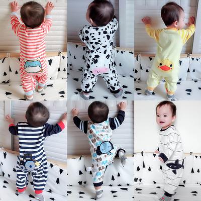 婴儿连体衣服春秋初生女宝宝秋装12满月0岁3个月6新生儿纯棉套装