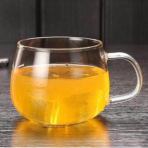透明水杯大肚咖啡牛奶杯子带把盖微波炉早餐喝水玻璃杯创意办公杯