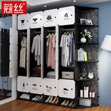 简易衣柜组装塑料衣橱省空间宿舍租房仿实木布简约现代经济型柜子