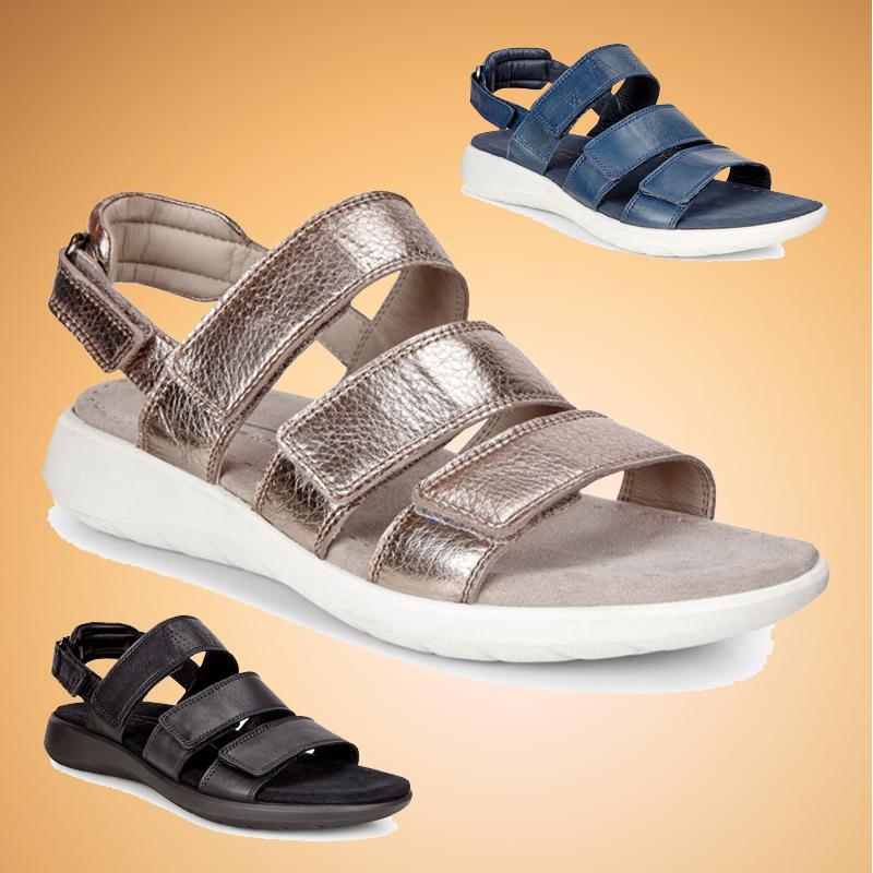 现货正品ECCO爱步春夏新款凉鞋218523女低跟平底女鞋 柔酷5号凉鞋