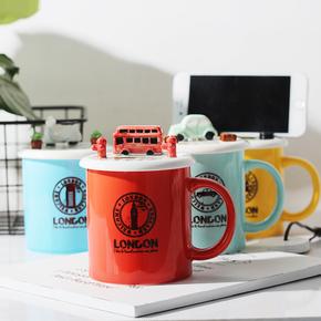 创意汽车手机支架陶瓷马克杯情侣可爱牛奶杯子办公室咖啡杯喝水杯