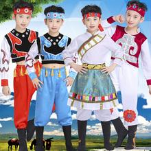 少数民族表演服装儿童男女蒙古袍藏族舞蹈演出服蒙族男童男孩新款