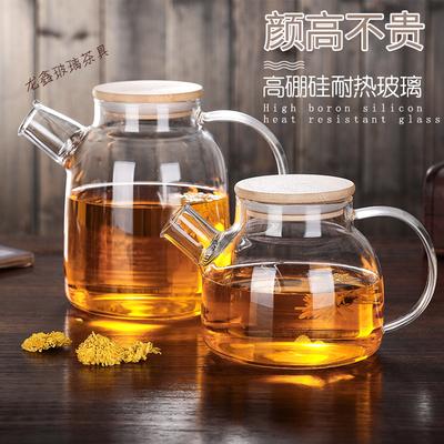 耐热加厚竹盖壶透明玻璃茶壶套装大容量防爆冷水壶家用可加热水杯价格