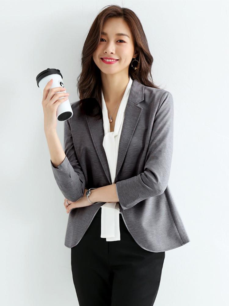 徕倩白色西装外套女夏薄款气质韩版小西服2019网红修身YY JK2325