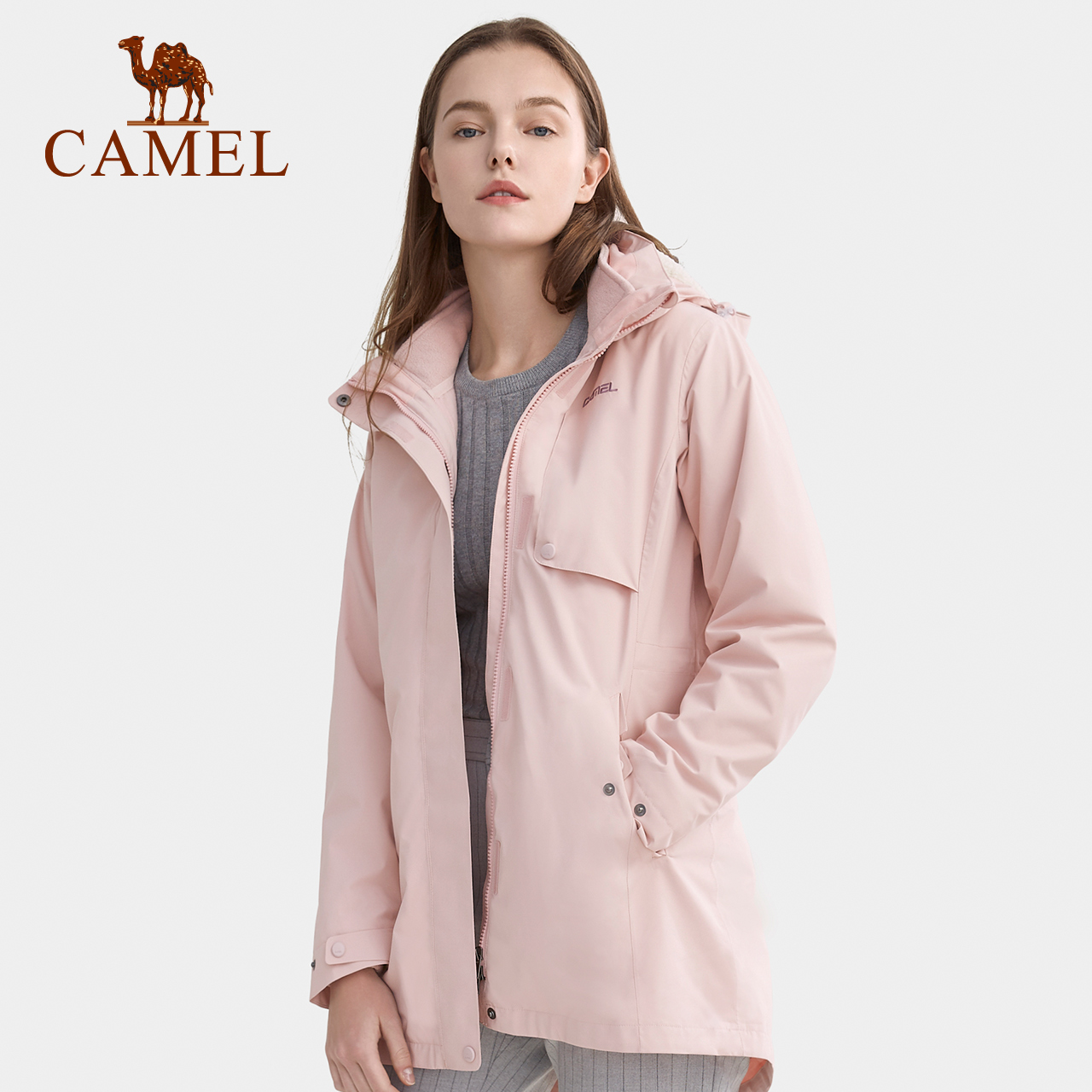 骆驼户外冲锋衣女中长款两件套三合一可拆卸抓绒加厚防风外套冬装