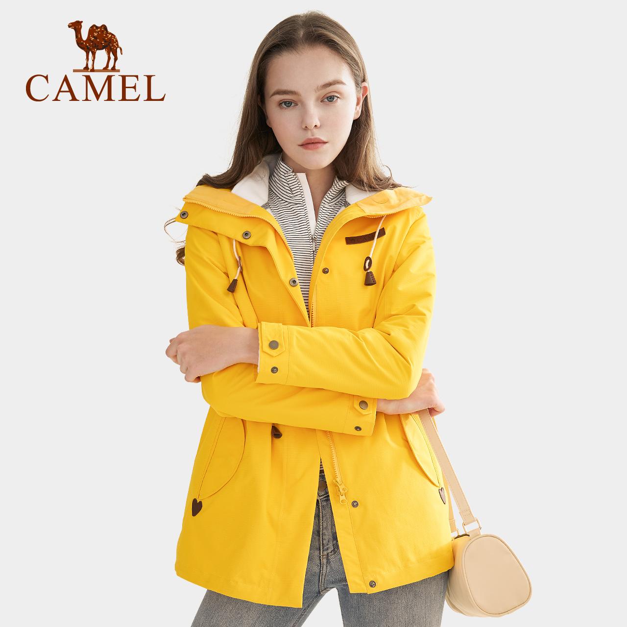 骆驼户外冲锋衣女加绒加厚三合一两件套工装服中长款外套风衣秋冬