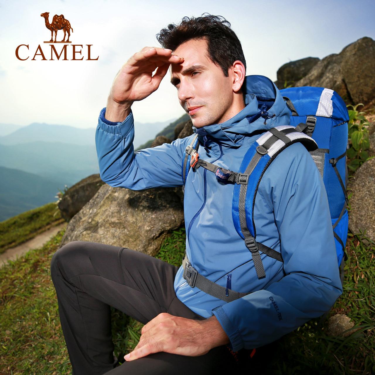 骆驼户外男款登山服秋冬防风防水加绒两件套三合一可拆卸冲锋衣男