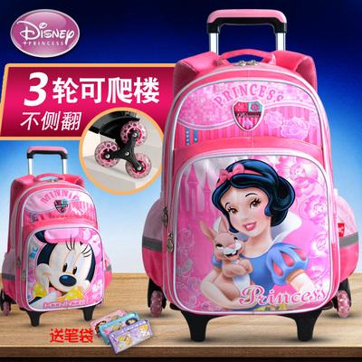 迪士尼儿童拉杆书包小学生3-5年级6-12岁白雪公主女童三轮可爬楼1