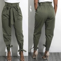Summer fashion ladies casual high waist long pants trousers