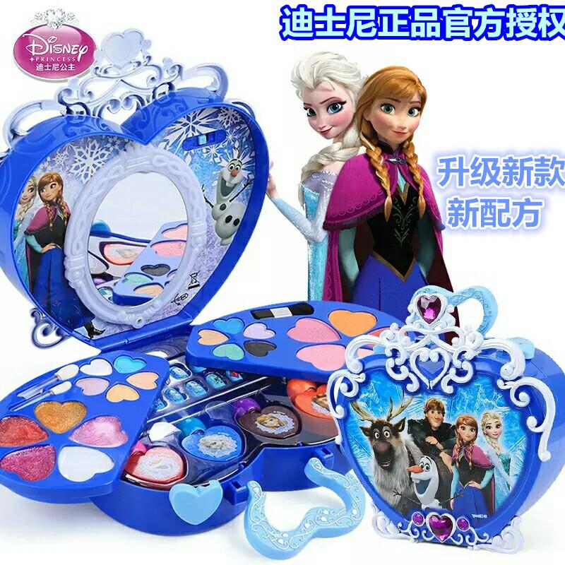 迪士尼儿童化妆品冰雪奇缘公主彩妆盒套装小孩女孩玩具安全无毒车