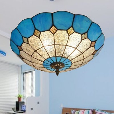 蒂凡尼灯美式简约卧室书房餐厅客厅地中海风格玻璃儿童房吸顶灯具
