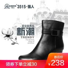 3515强人冬季新款真皮中筒侧拉链羊毛女短靴女军官07冬常服毛皮鞋图片