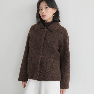 卷羊毛羊羔毛外套女秋冬短款韩风仿皮草翻领复古单排扣冬衣麂皮绒