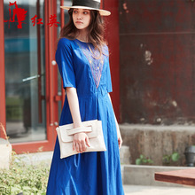 Redhero/Red Yingxia Women's Dresses New Literary Embroidery Eugen Yarn Stitching Mid-sleeve Long Skirt Dresses