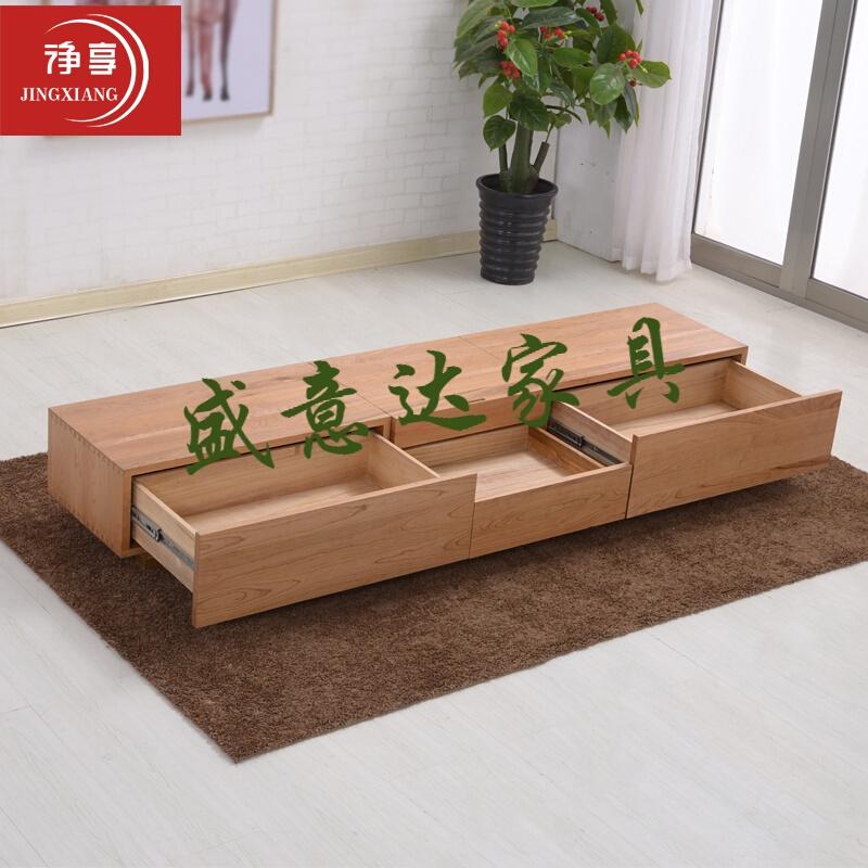激光投影仪电视柜日式客厅全实木多功能伸缩激光电视专用柜矮 樱