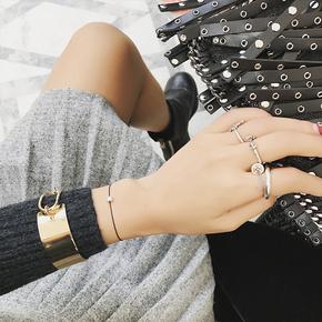 韩版开口手镯金属别针扣子手环时尚百搭手链简约袖口袖子装饰品女