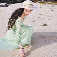 【断码特价】边度假沙滩裙雪纺一字肩抹胸连衣裙巴厘岛海滩长裙