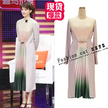 Dong Qing's long and medium-length stitching silk dress with fashionable temperament and famous pleated skirt
