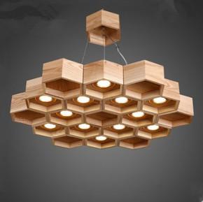 北欧风格吊灯小客厅设计师创意艺术餐厅灯LED蜂巢办公室实木灯具