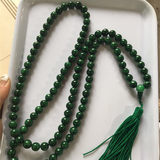 Natural a cargo jadeite dried green iron dragon raw 10mm beads 108 jade necklaces Bracelet Rosary Beads for men and women