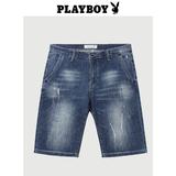 花花公子牛仔短裤男士夏季新款青年破洞个性五分潮流时尚水洗裤子