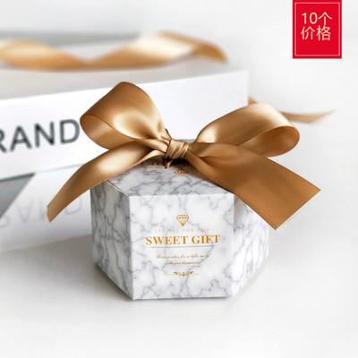 新款六边糖盒灰大理石婚礼喜糖包装纸盒子欧式结婚喜糖盒创意婚庆
