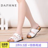 Daphne/达芙妮正品夏款百搭简约搭扣厚底低跟女凉鞋拖鞋沙滩鞋子