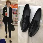鞋子女2018新款单鞋女平底小皮鞋女复古英伦风尖头工作鞋粗跟女鞋
