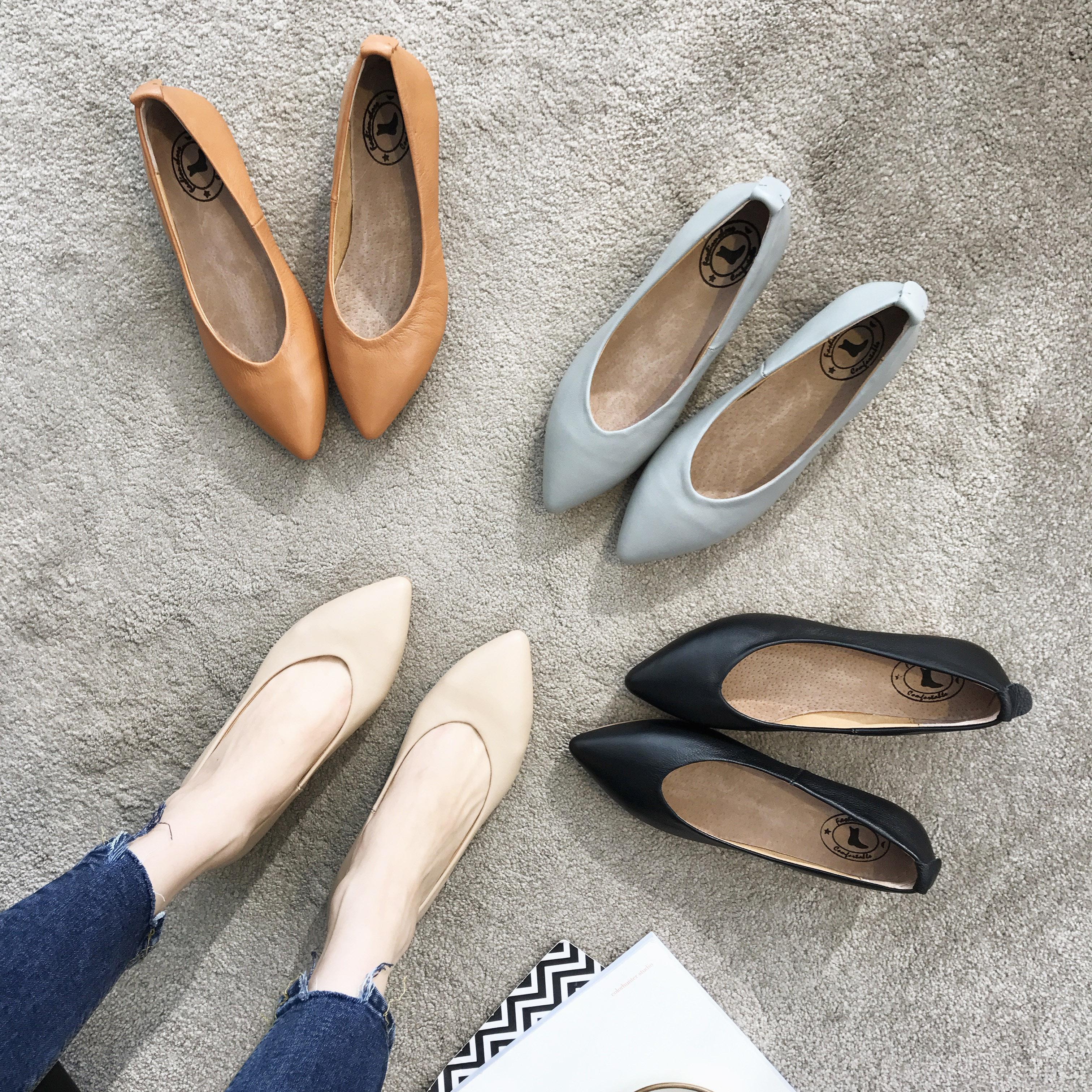 尖头单鞋女2018春夏款真皮浅口粗跟奶奶鞋复古百搭套脚中跟工作鞋