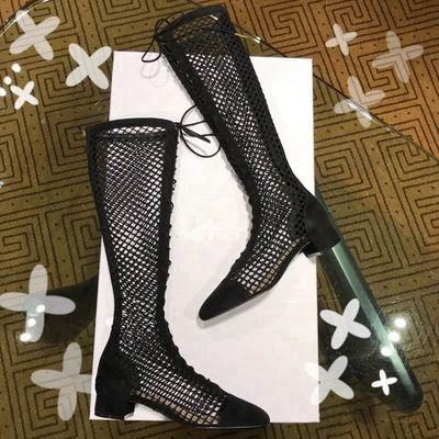 真皮中跟镂空靴凉鞋女夏2018新款长筒网靴绑带黑色网纱罗马鞋凉靴