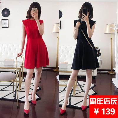 预@加肥加大码女装胖mm2018夏装新款韩版可爱收腰显瘦无袖连衣裙