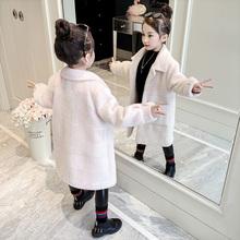 女童水貂绒外套2018新款洋气加厚冬装儿童小女孩中长款毛呢大衣潮