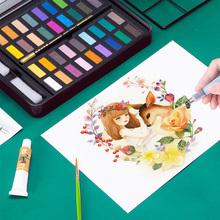 无毒可洗颜料盒便携式调色学生用儿童美术生成人初学者画画 六品堂固体水彩颜料36色绘画工具手绘水彩画笔套装