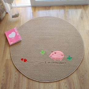 圆形小粉猪地毯儿童休闲垫宝宝垫可水洗薄款不掉毛小猪可定制尺寸