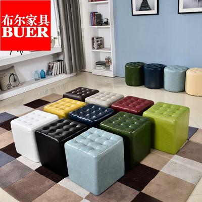 皮凳子方凳换鞋凳客厅沙发凳矮凳真皮凳子小圆皮凳服装店试鞋凳子特价