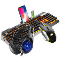 New Alliance keyboard and mouse set headset three-piece set of real mechanical feel chicken game desktop computer notebook peripherals wired mouse and keyboard Internet cafes Internet cafes home esports