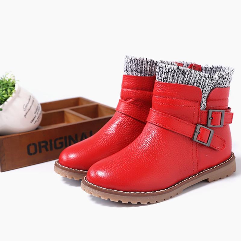 2018秋冬新款真皮女童棉靴韩版中大童牛皮公主雪地靴小女孩短靴