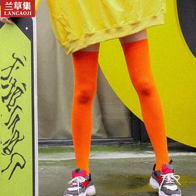 过膝袜子女秋冬糖果大腿韩版纯彩色棉学生护膝袜套长筒日系学院风