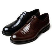 金利来男鞋2018新款专柜正品手工雕花布洛克系带真皮商务皮鞋婚鞋