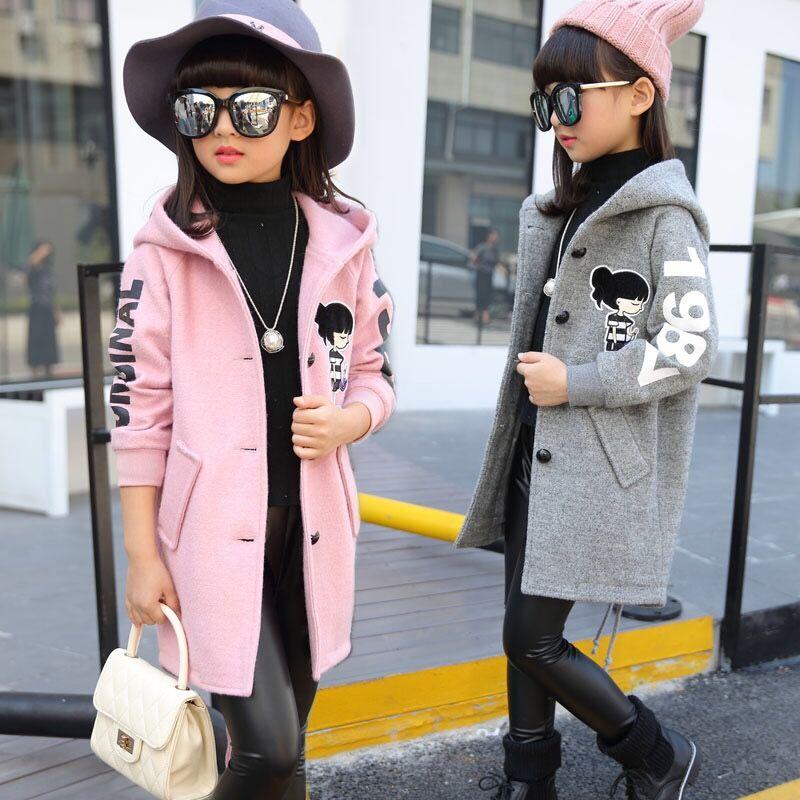 女童呢子大衣中长款2018秋冬新款中大儿童装韩版加厚女孩毛呢外套