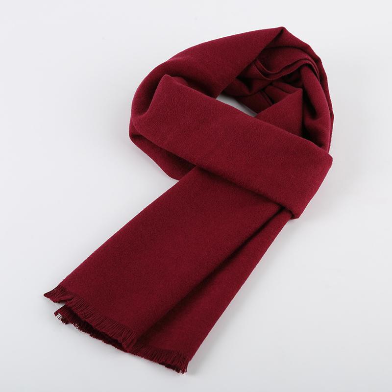 男士围巾冬季新款韩版加厚保暖百搭纯色酒红女围脖学生年轻人礼盒