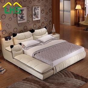 布艺床榻榻米 双人床1.8米简约现代可拆洗布床多功能婚床主卧家具