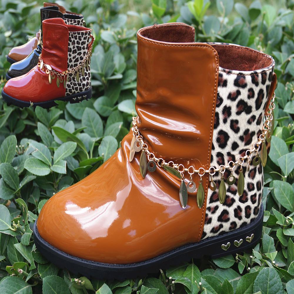 豹纹马丁靴童