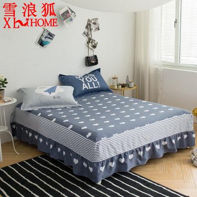 雪浪狐纯棉简约花卉床裙家用加大床罩儿童学生宿舍卡通可爱床套