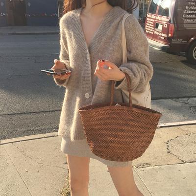 春装韩版女装复古显瘦chic宽松V领毛衣开衫气质中长款针织衫外套