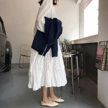 秋季韩版女装领口系带气质V领长袖连衣裙复古显瘦学生压褶长裙