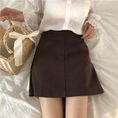 显瘦A字裙学生休闲裙子 百搭纯色高腰半身裙女短裙修身 韩版 夏装